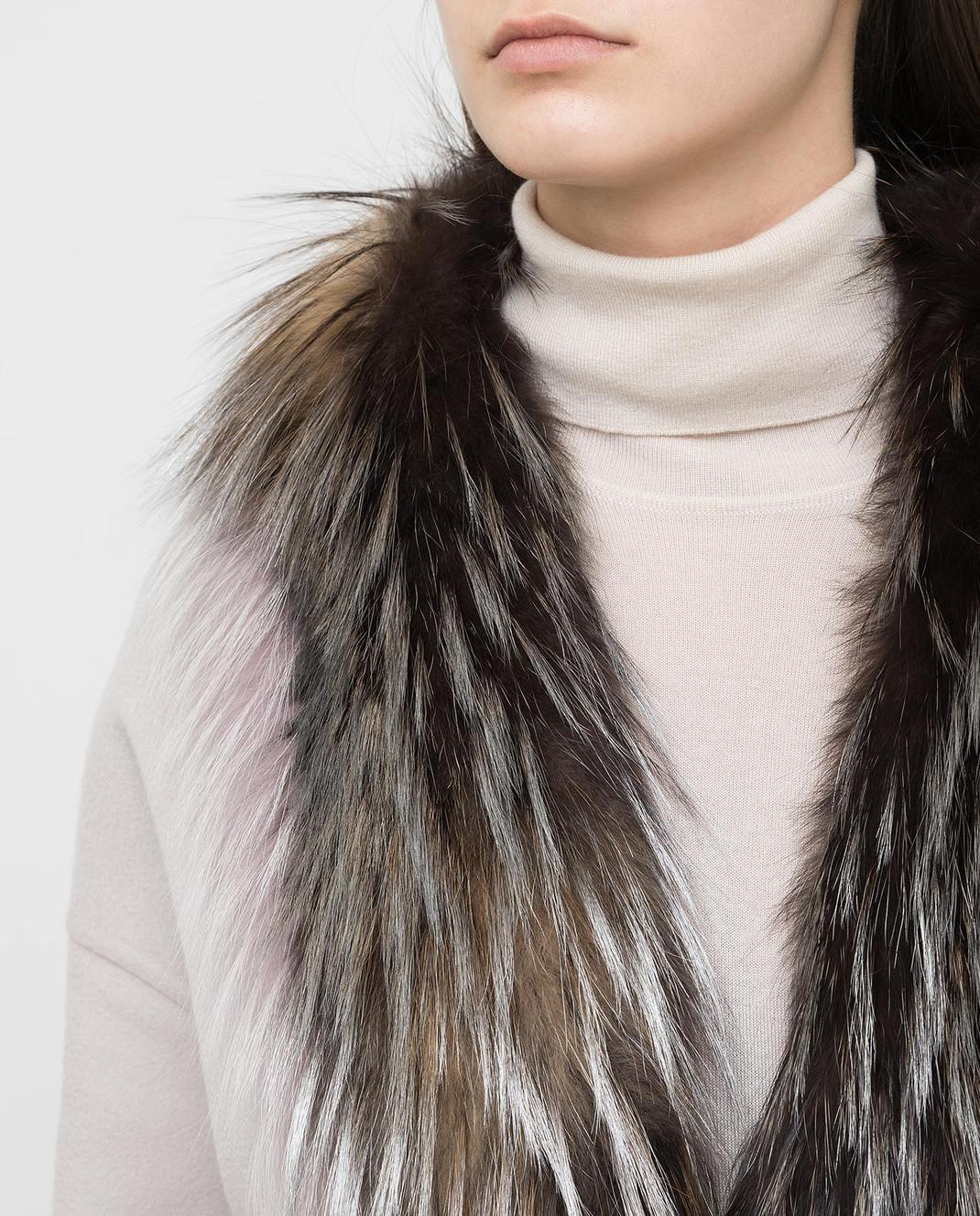Rindi Серое пальто из кашемира с мехом лисы 298TE017 изображение 5