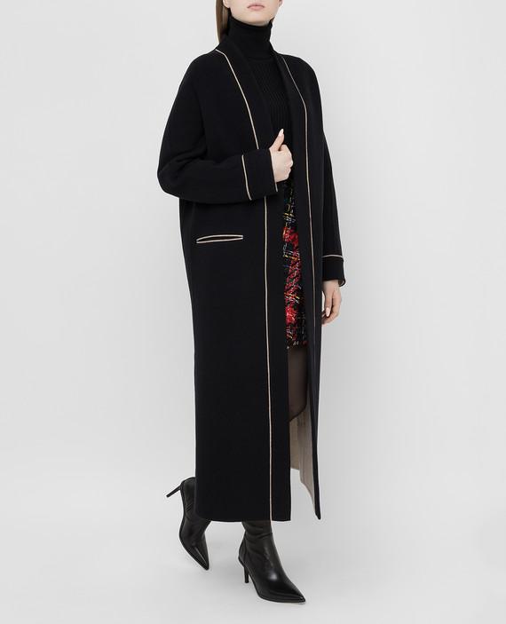 Черное пальто из шерсти и кашемира hover