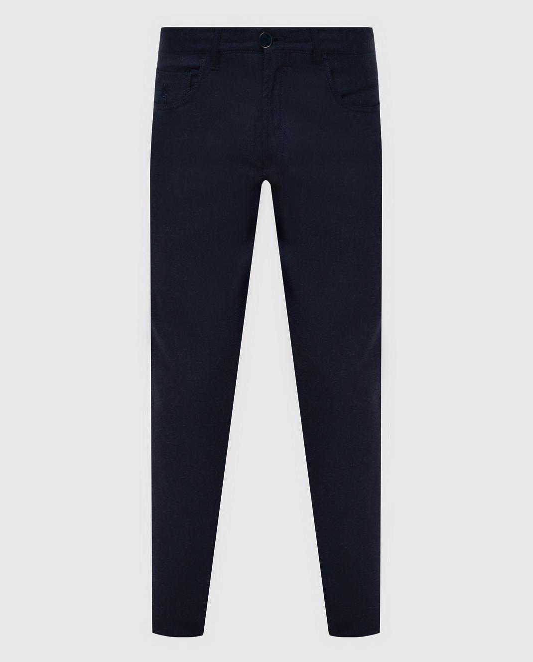 Scissor Scriptor Темно-синие брюки из шерсти изображение 1