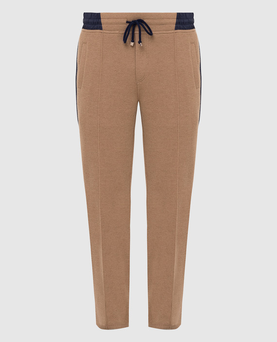 Бежевые спортивные брюки из верблюжьей шерсти