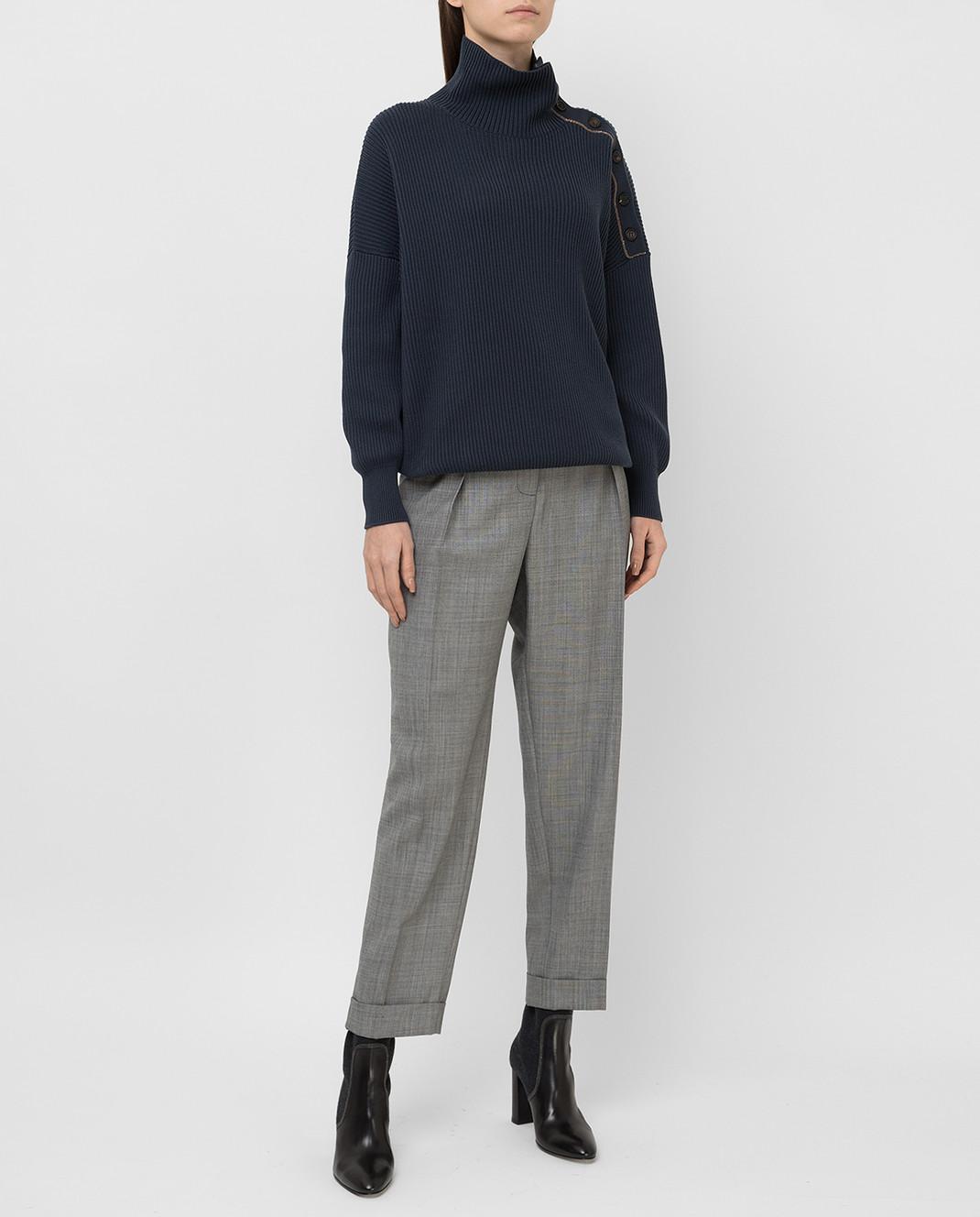 Victoria Beckham Серые брюки из шерсти TRTPR2600B изображение 2