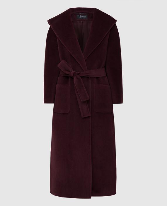 Бордовое пальто из шерсти и кашемира