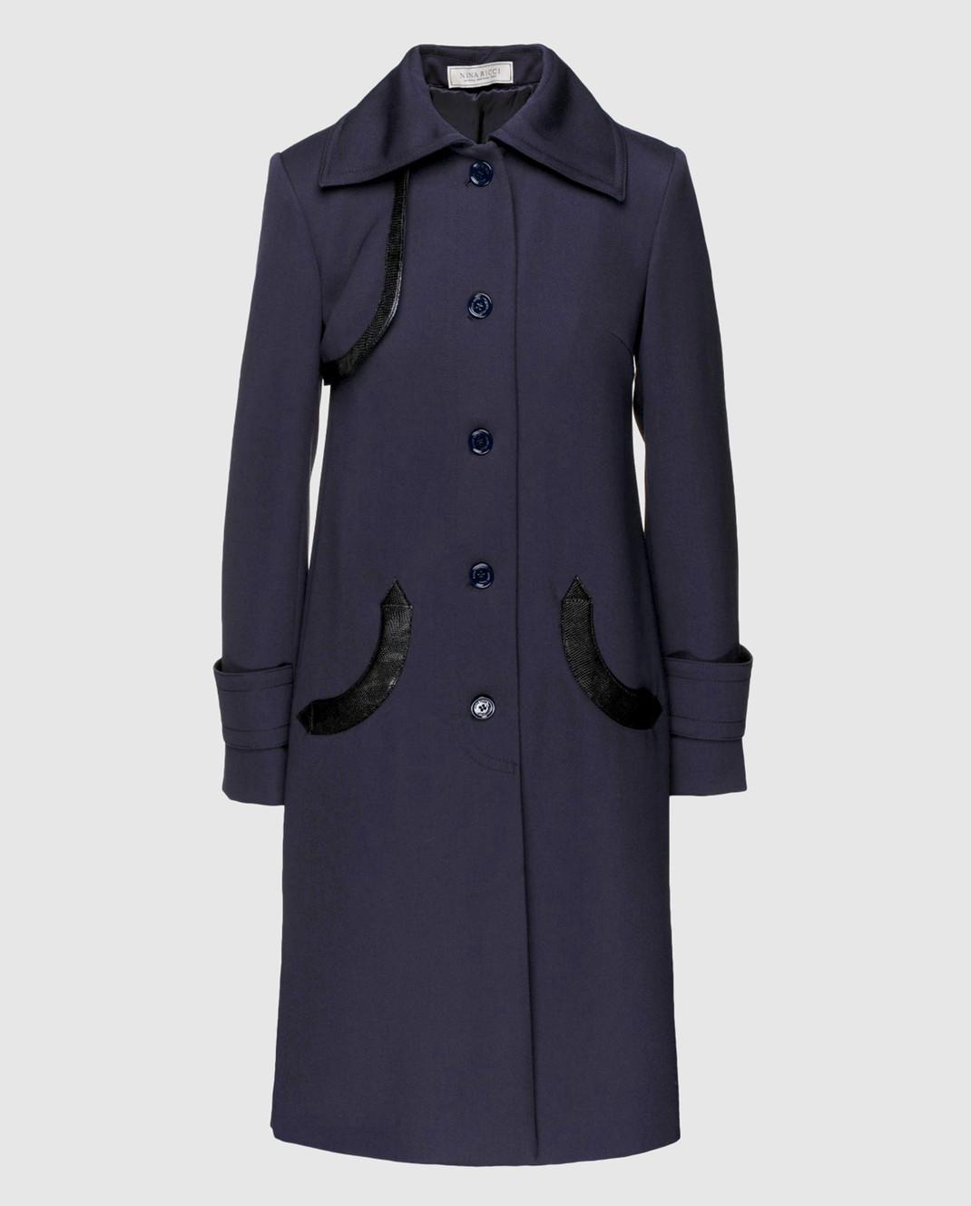 NINA RICCI Темно-синее пальто из шерсти 17HCMA016WV0220