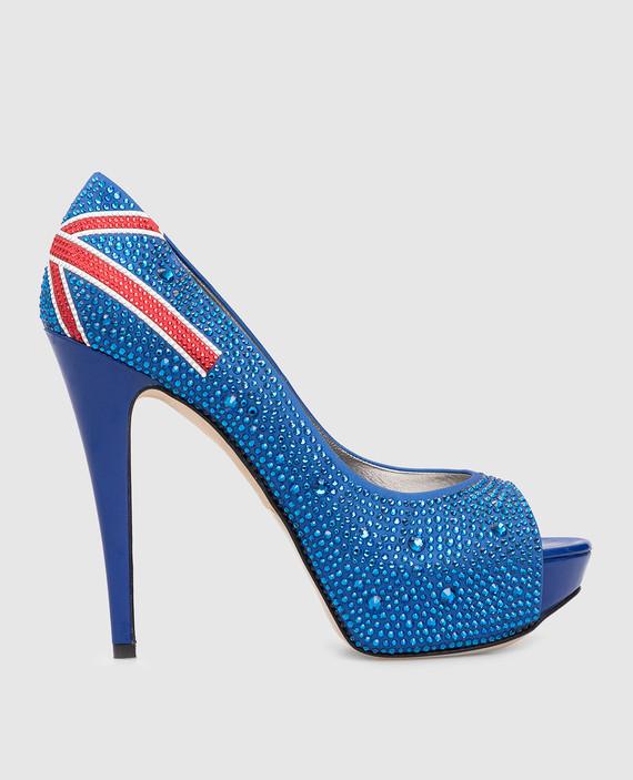 Синие туфли с кристаллами
