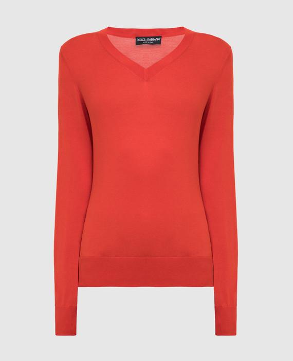 Алый пуловер из шелка