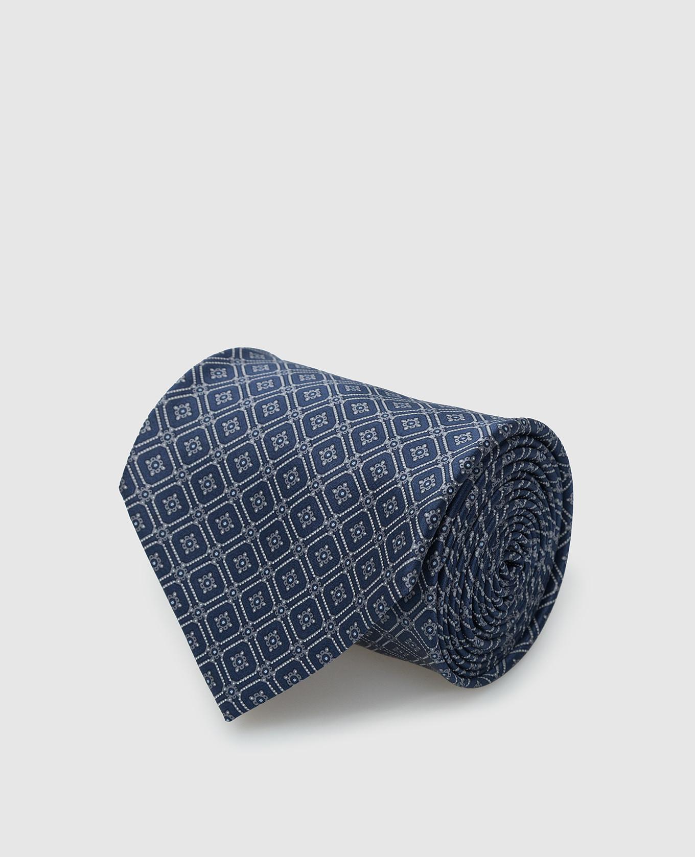 Темно-синий шелковый галстук в узор паттерн Stefano Ricci