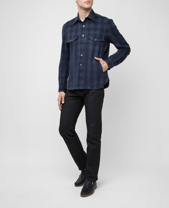 Темно-синяя рубашка из шерсти и кашемира hover
