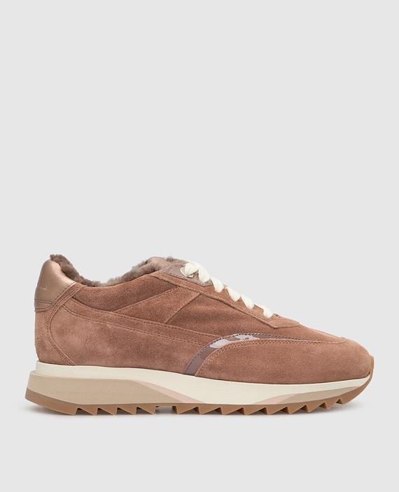 Пудровые замшевые кроссовки на меху