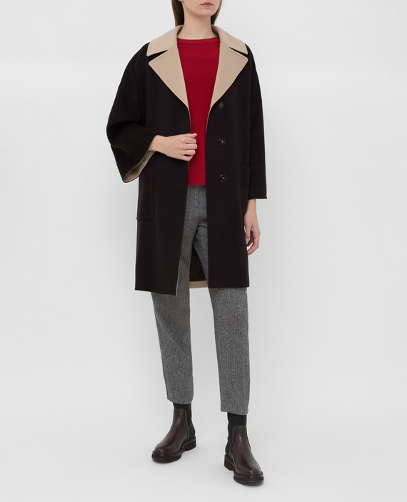 Темно-коричневое пальто из шерсти hover