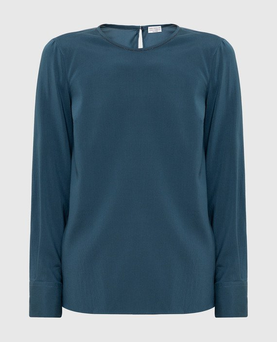 Темно-бирюзовая блуза из шелка