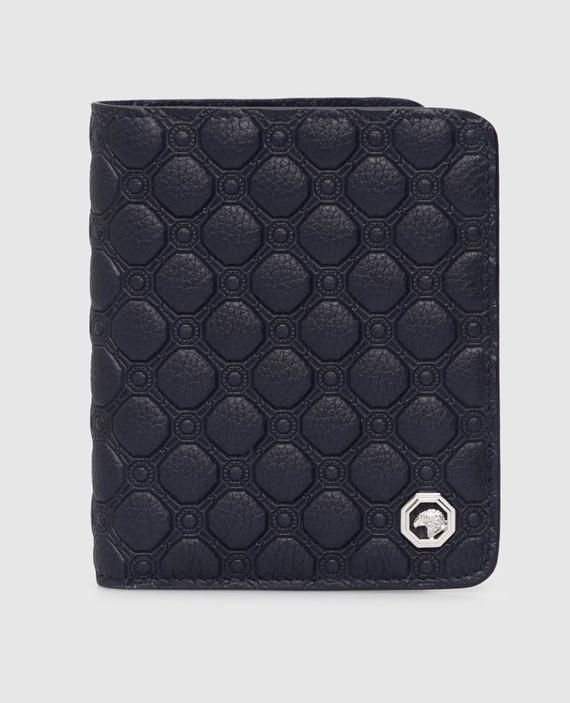 Темно-синий кожаный кошелек