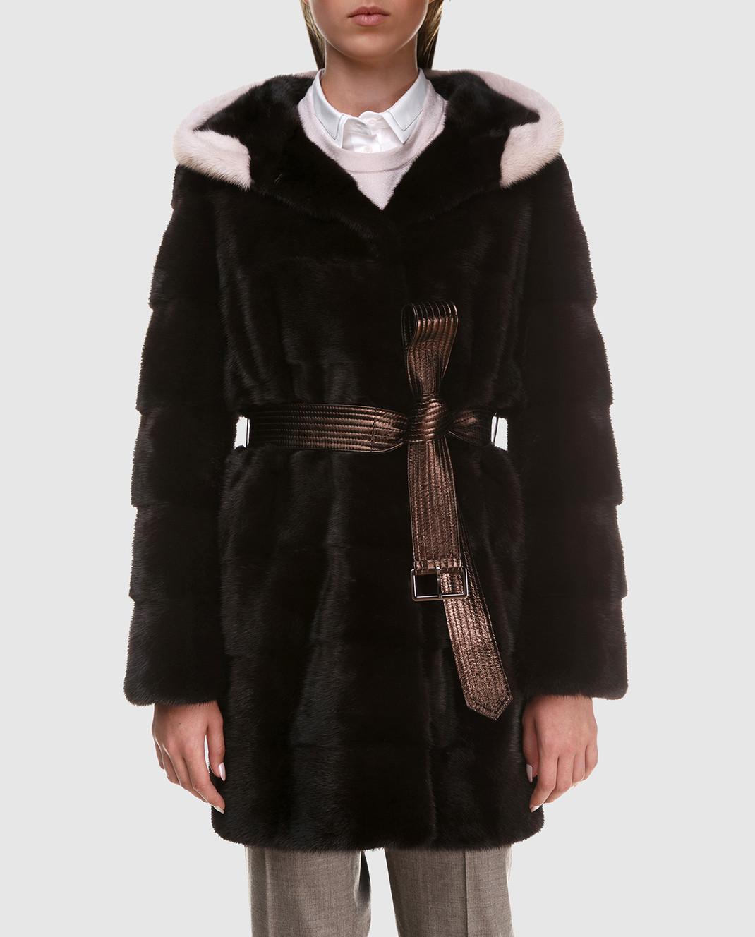 Florence Mode Темно-коричневая шуба из меха норки с поясом L1827EBONY изображение 3