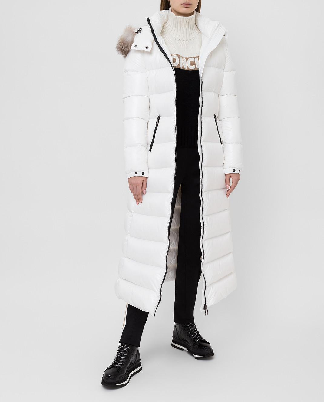 Moncler Белый пуховик с мехом лисы изображение 2