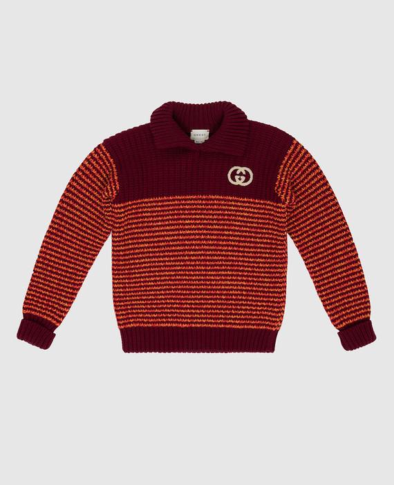 Детский бордовый свитер из шерсти