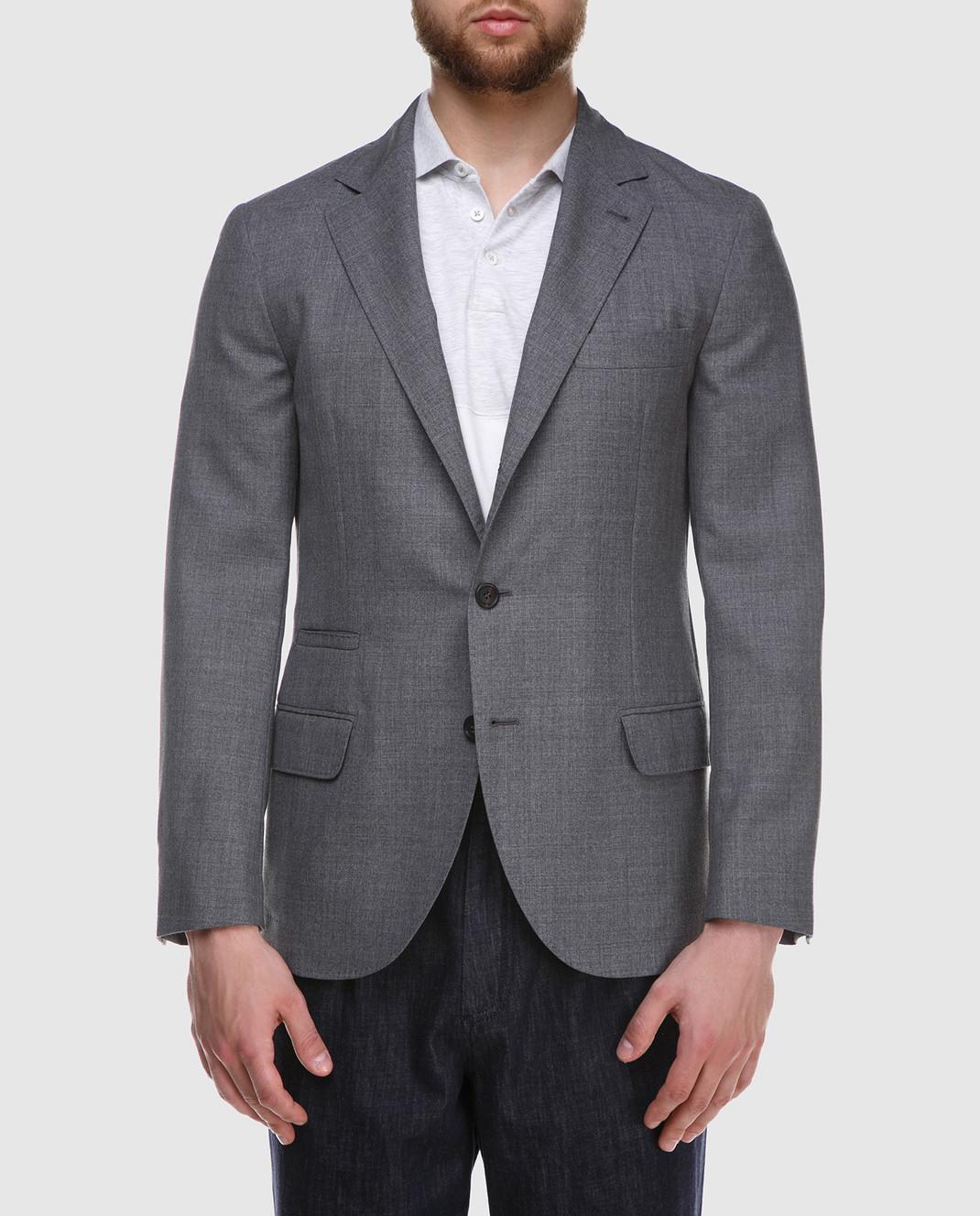 Brunello Cucinelli Серый пиджак из шерсти MF4237BTD изображение 3