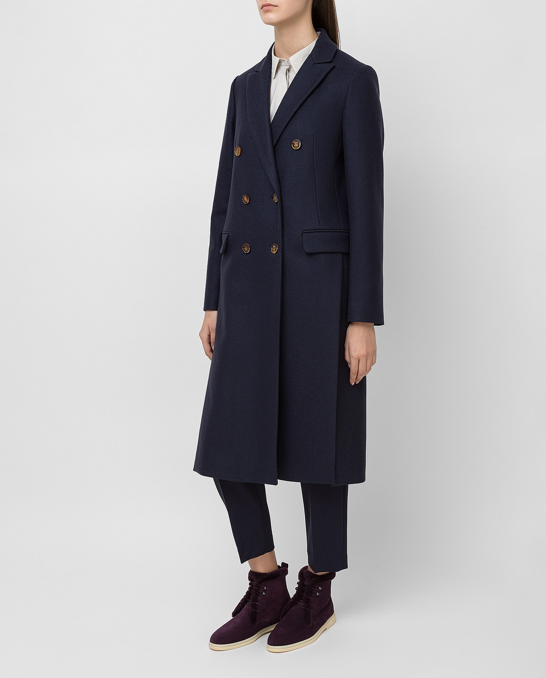 Brunello Cucinelli Темно-синее пальто из кашемира MA5324963 изображение 3