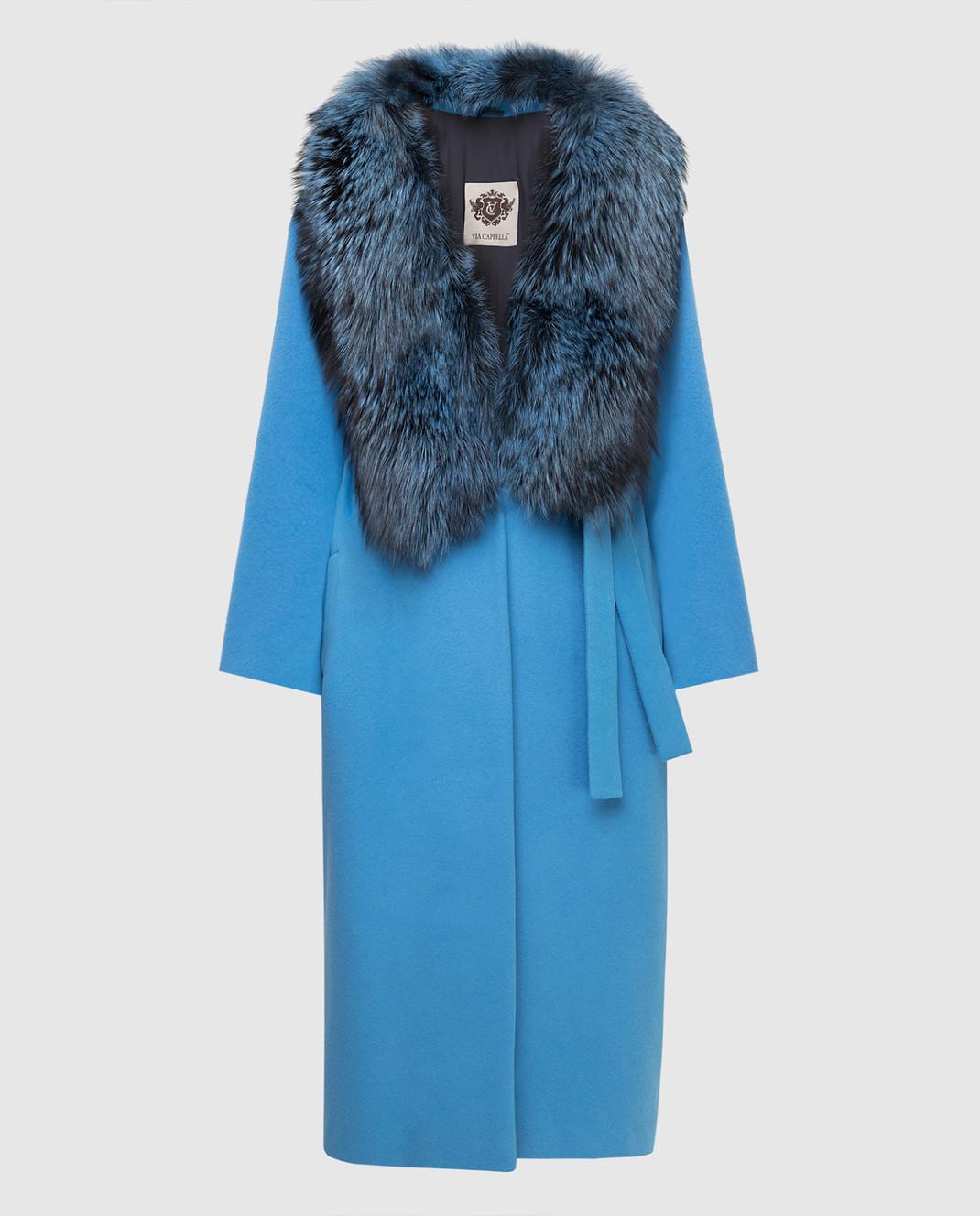 Via Cappella Голубое пальто из кашемира с мехом лисы C171418CASHMIR