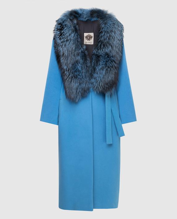 Голубое пальто из кашемира с мехом лисы