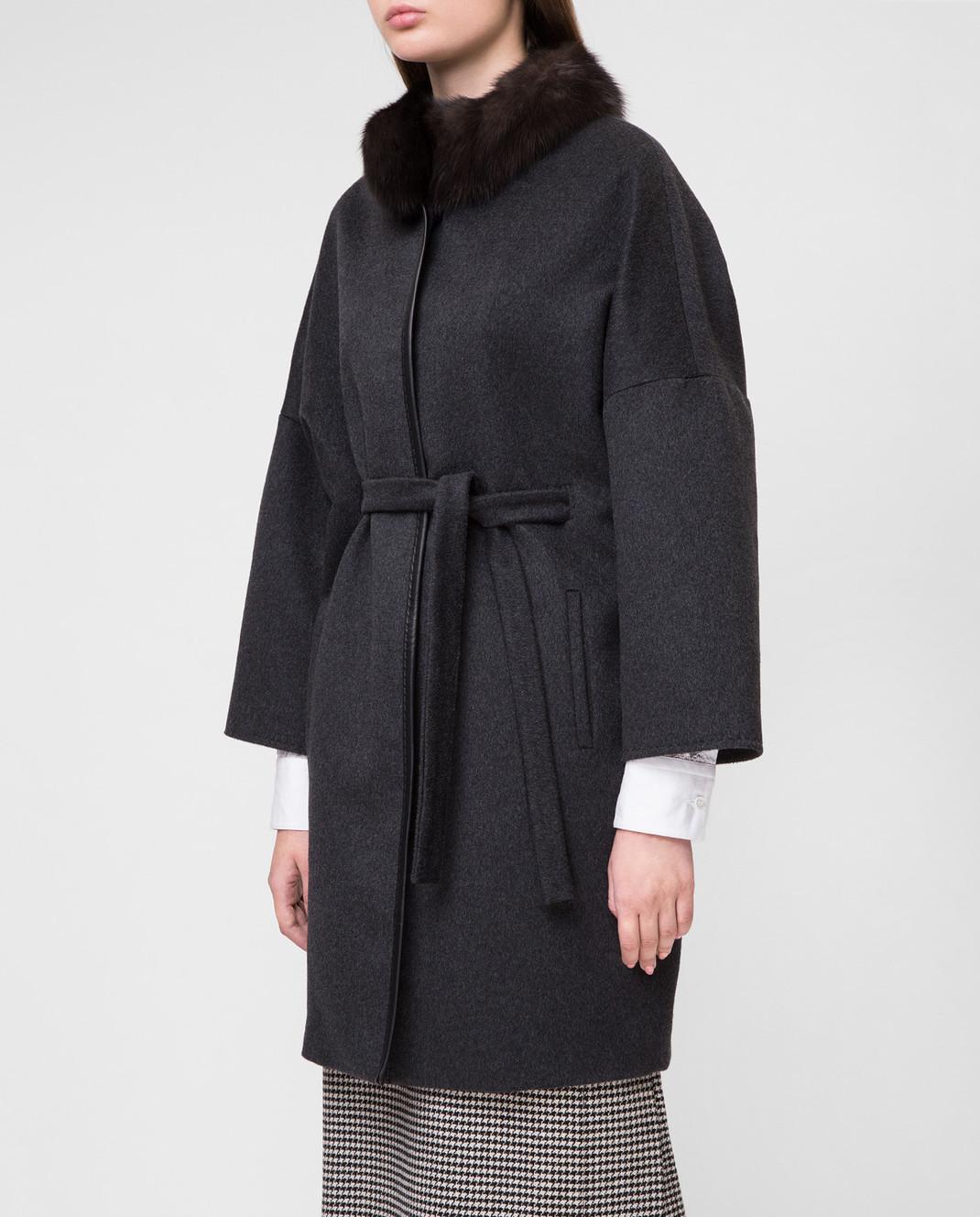 Real Furs House Темно-серое пальто CSR7177 изображение 3