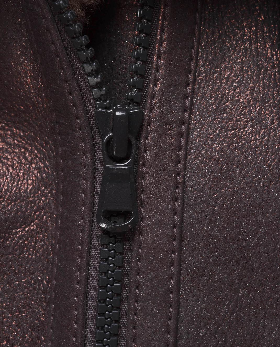 Brunello Cucinelli Коричневый кожаный жилет с мехом барашка MPBPO8449P изображение 5
