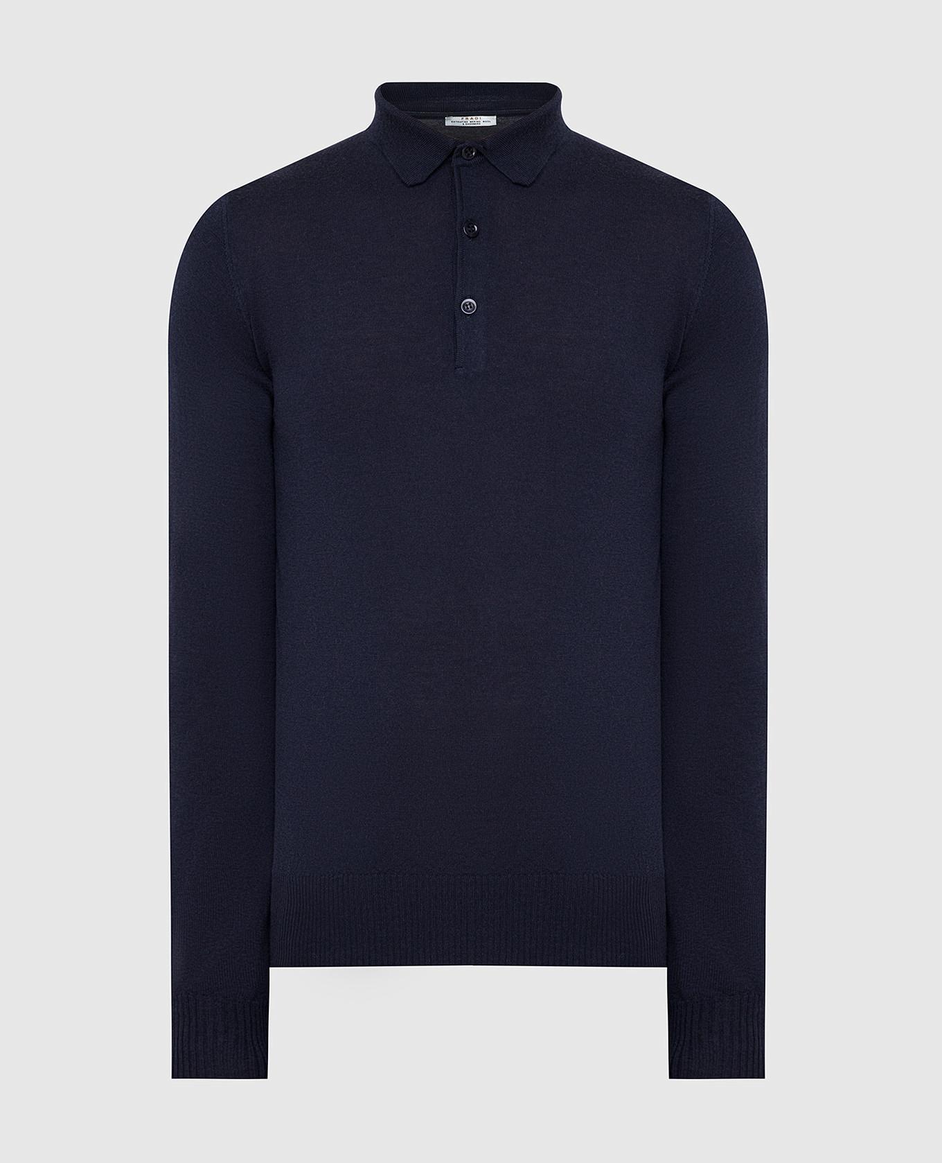 Темно-синее поло из шерсти и кашемира