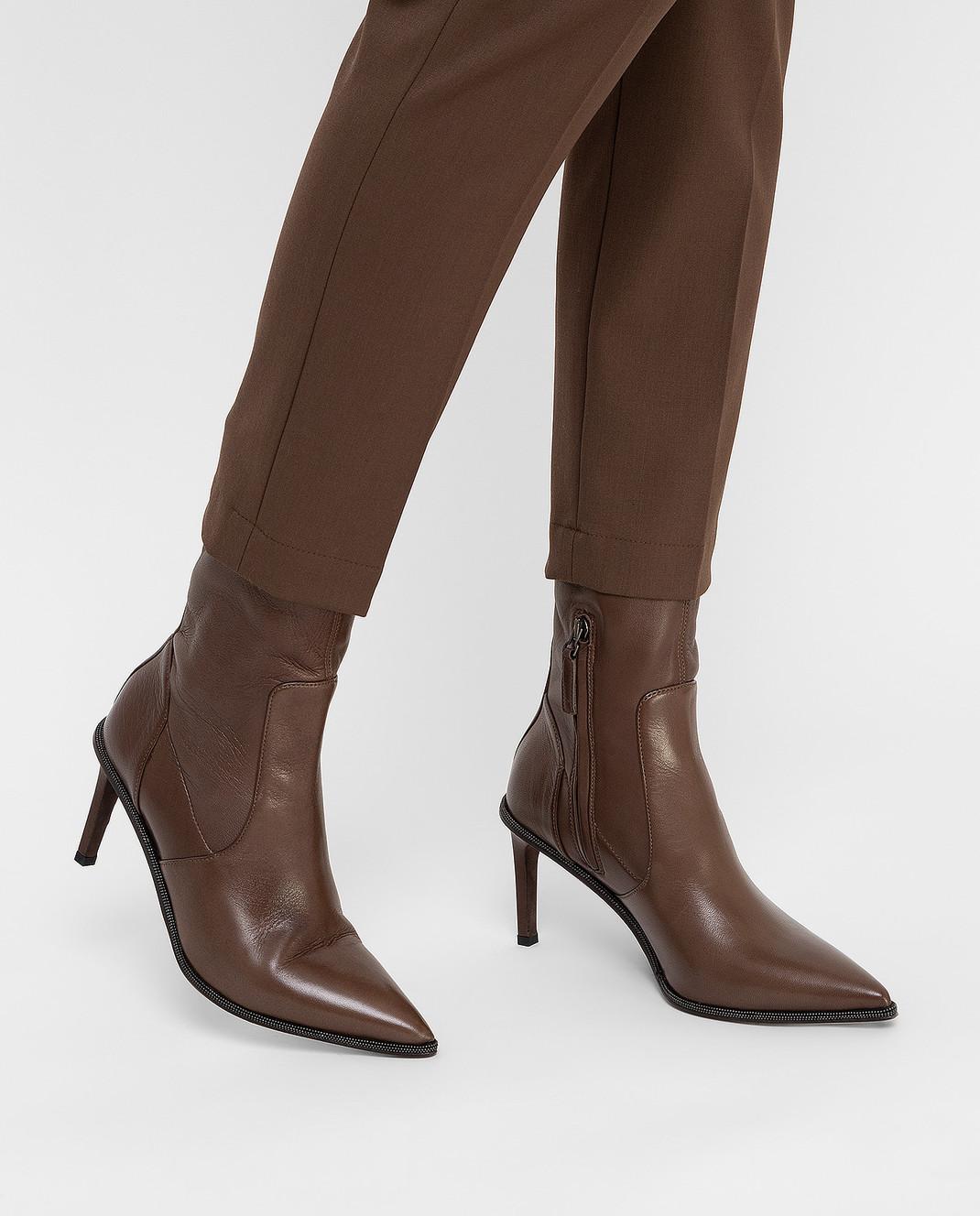 Brunello Cucinelli Темно-коричневые кожаные ботильоны изображение 2