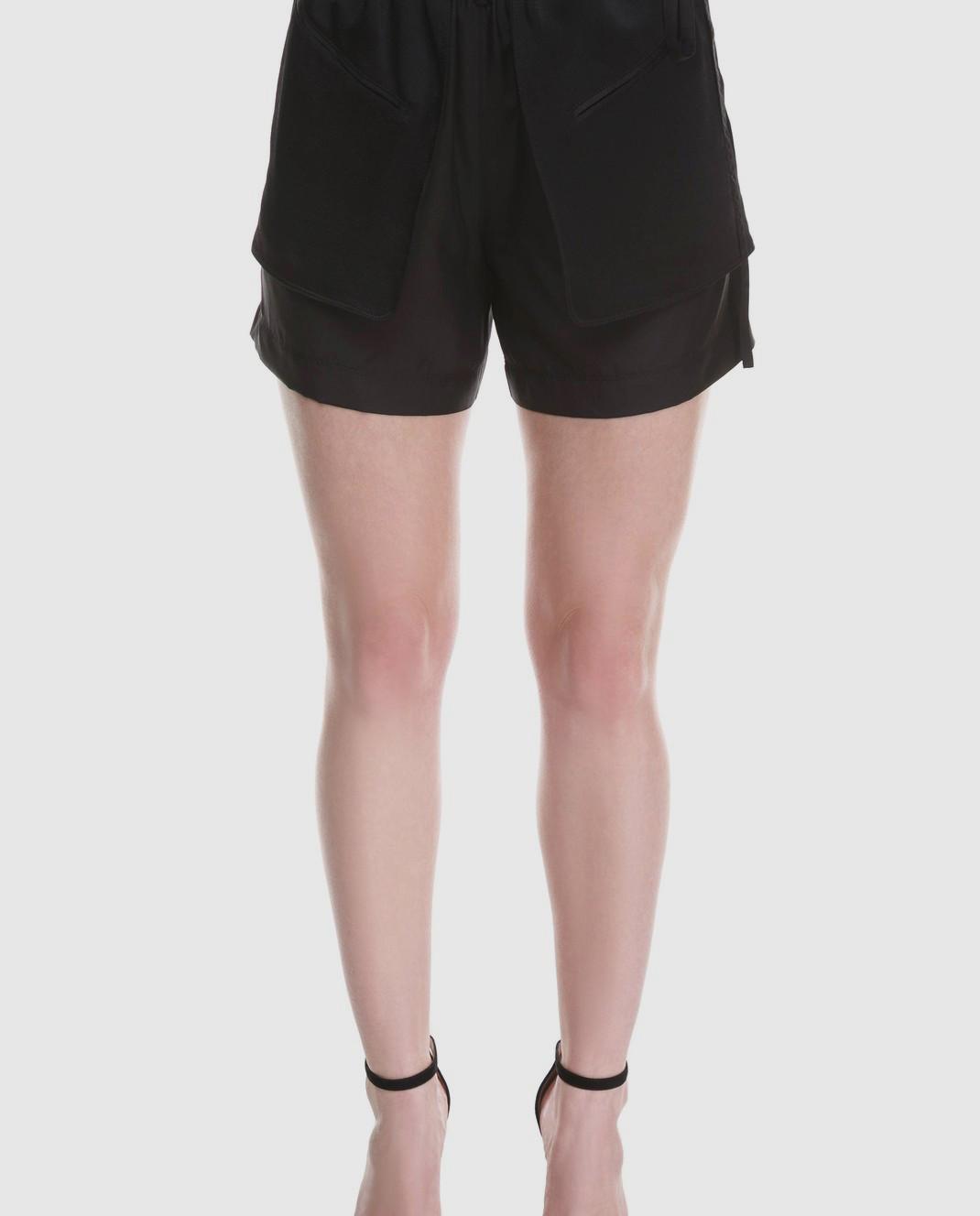 Valentino Черные шорты из шелка и хлопка PB0RF0N637C изображение 4