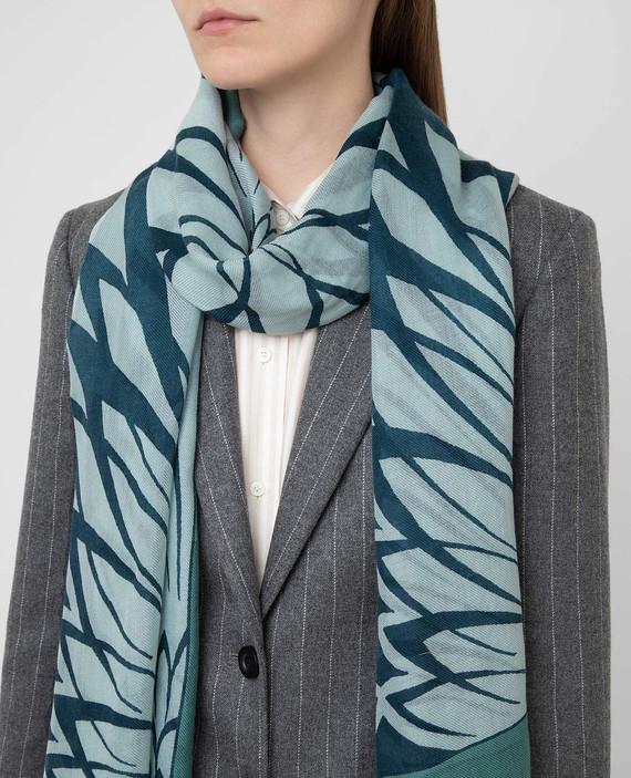 Голубой шарф из кашемира и шелка hover