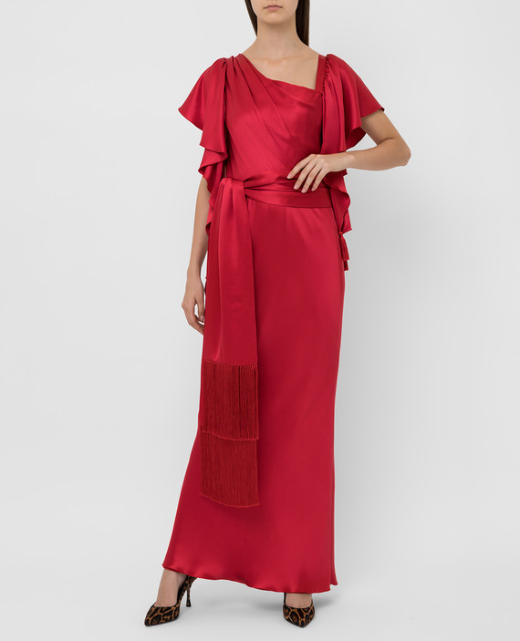 Красное платье из шелка hover