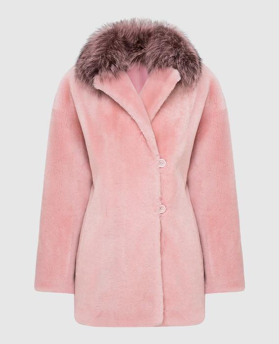 Розовая шуба с мехом лисы