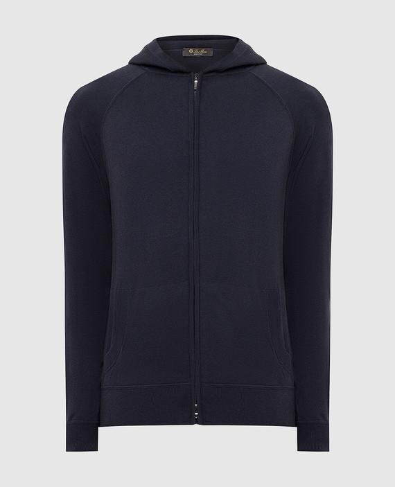 Темно-синяя спортивная кофта из шелка и кашемира