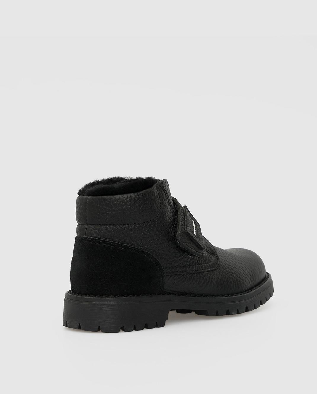 Dolce&Gabbana Детские черные кожаные ботинки на меху изображение 3