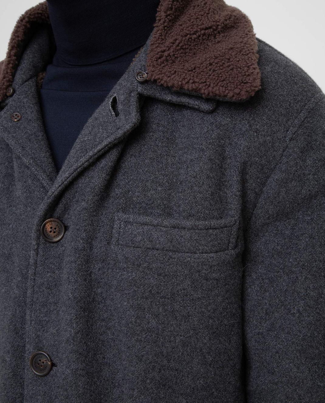 Brunello Cucinelli Серое пальто из кашемира MT4976307 изображение 5