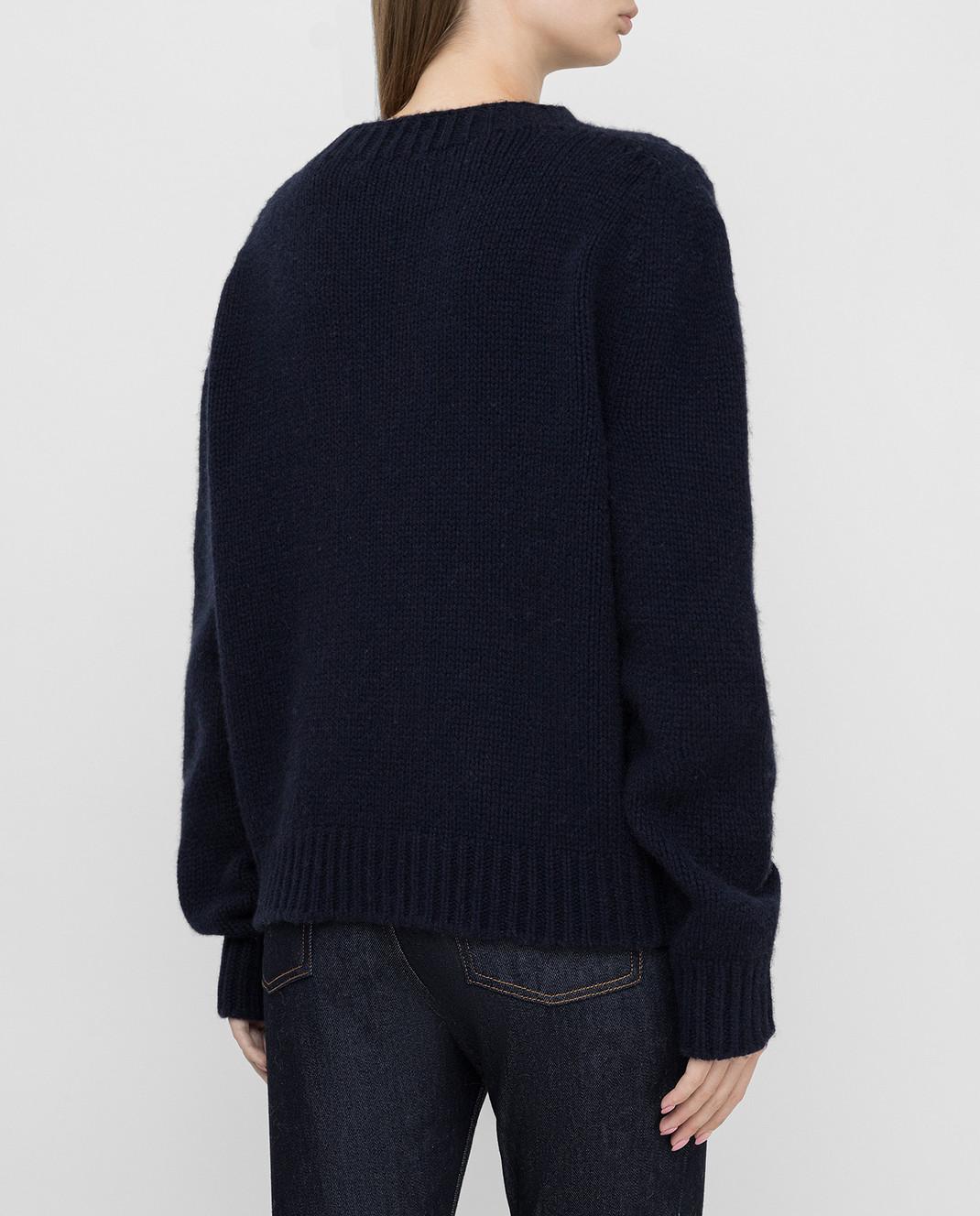 Lanvin Темно-синий свитер из кашемира изображение 4