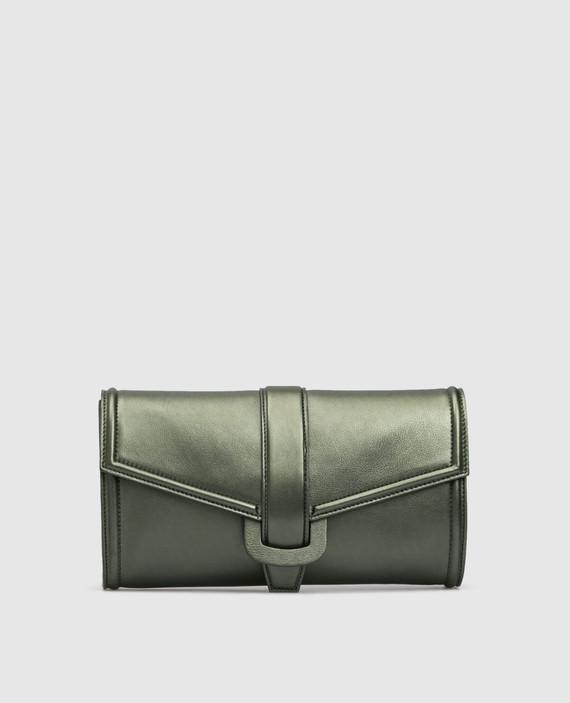 Зеленый кожаный клатч