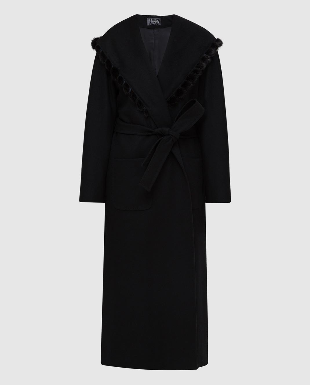 Heresis Черное пальто из шерсти M33130VIF260