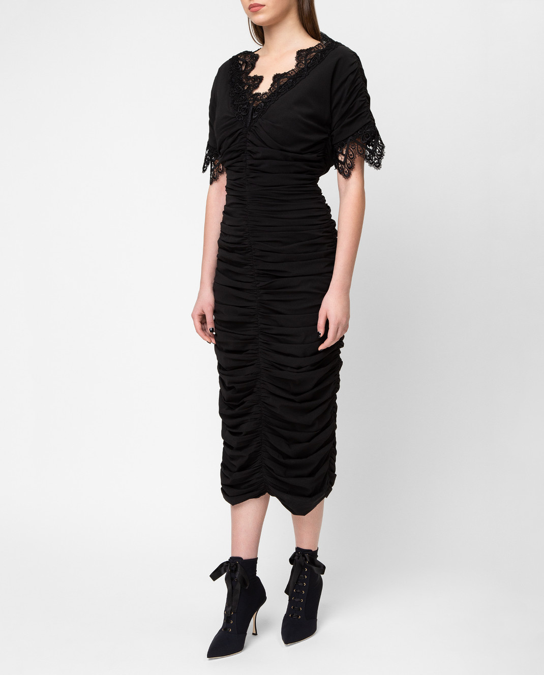 Dolce&Gabbana Черное платье F6A4QTFUABH изображение 3