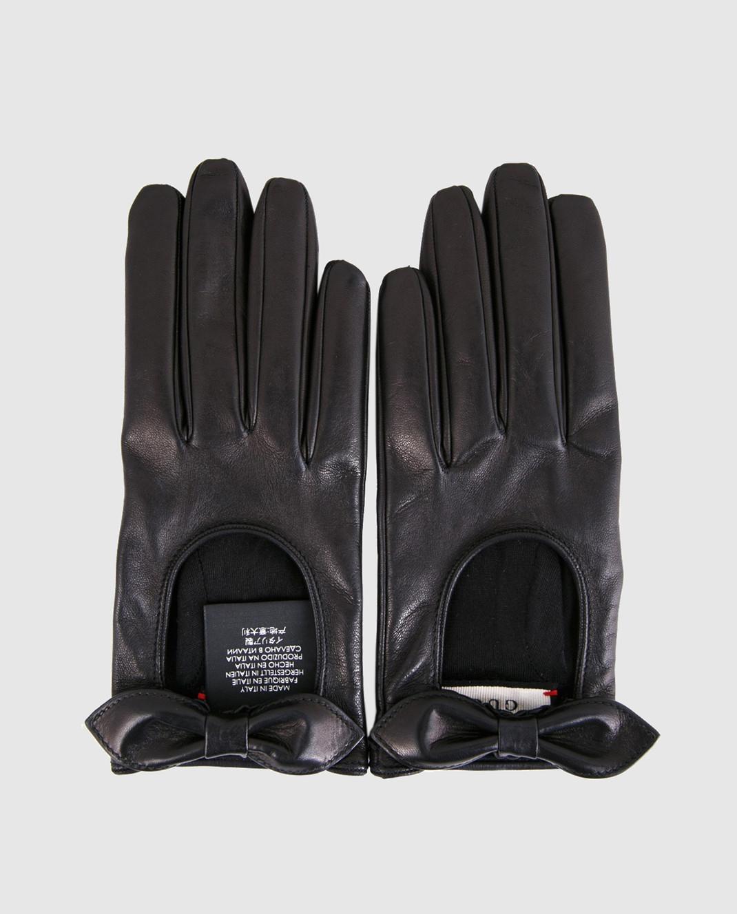 Gucci Черные кожаные перчатки 477968BAP00