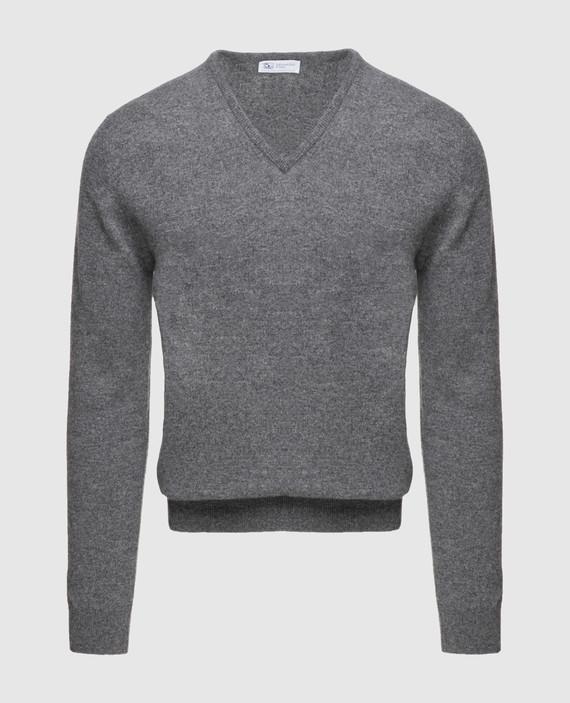 Серый пуловер из кашемира