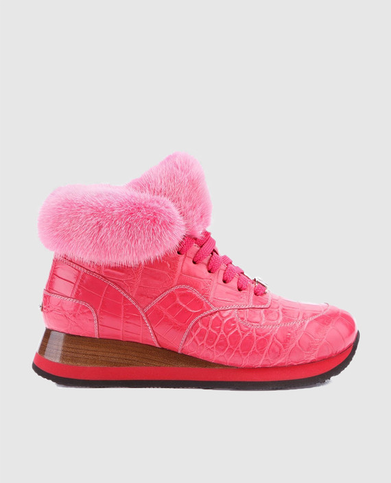Розовые кроссовки ручной работы из кожи крокодила