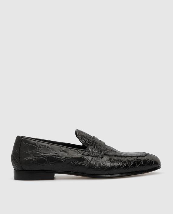 Черные лоферы из кожи крокодила