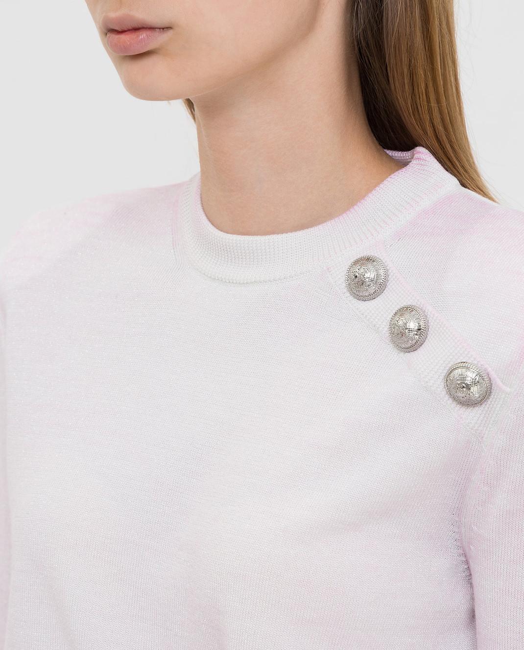 Balmain Светло-розовый свитер из шерсти изображение 5