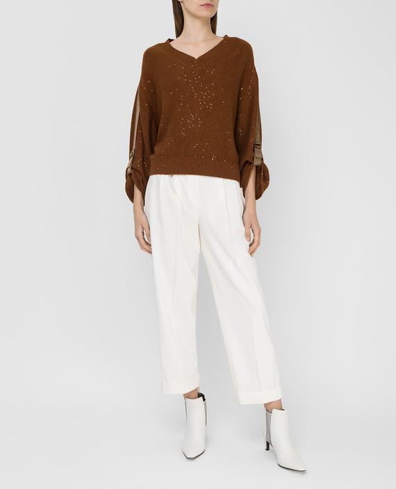 Коричневый пуловер из кашемира и шелка hover