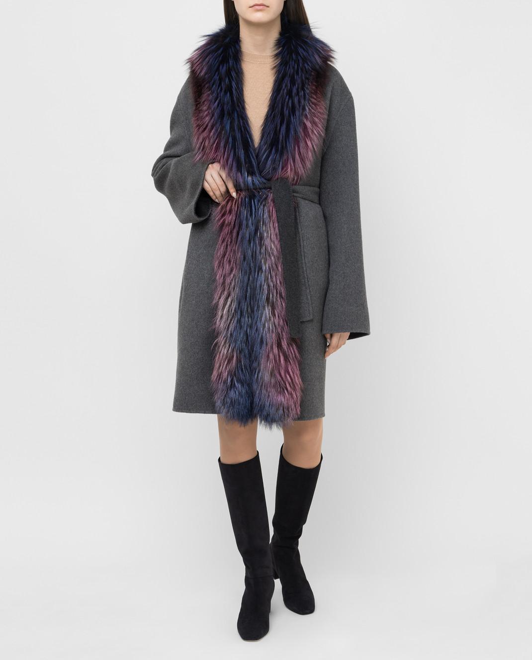 Rindi Серое пальто из кашемира с мехом лисы 262TE017 изображение 2