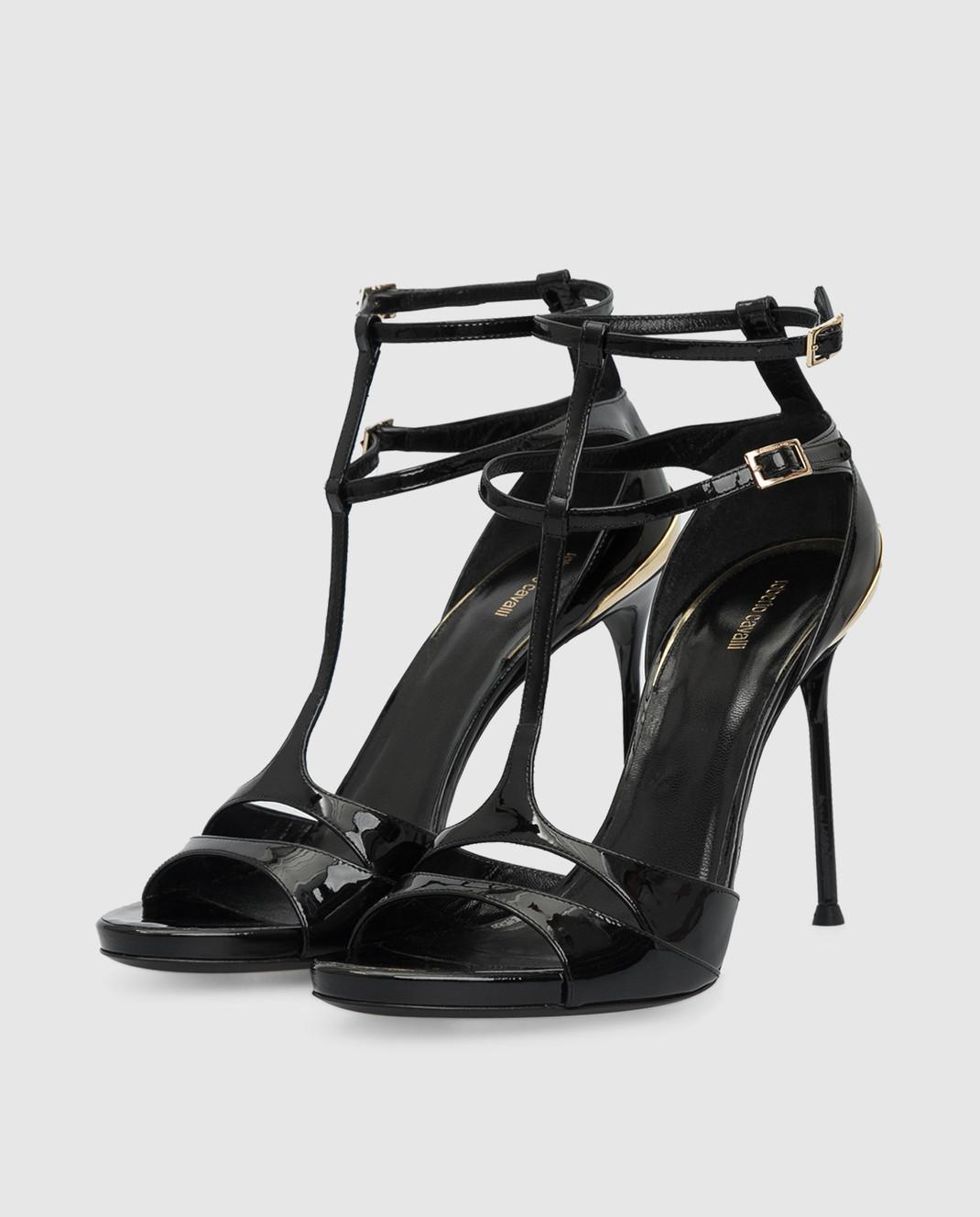 Roberto Cavalli Черные кожаные босоножки CQS163PL001 изображение 3