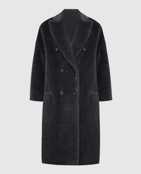 Темно-серое пальто из альпаки и шерсти