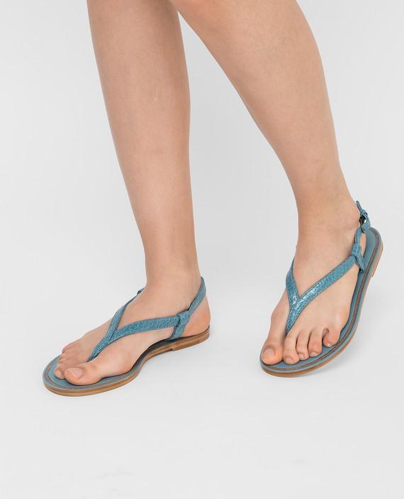 Голубые кожаные сандалии hover
