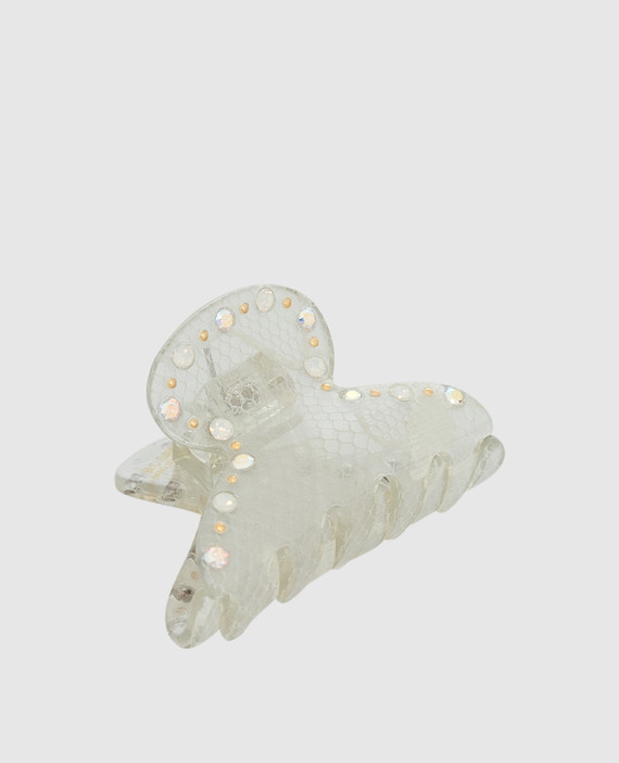 Серебристая заколка с кристаллами hover