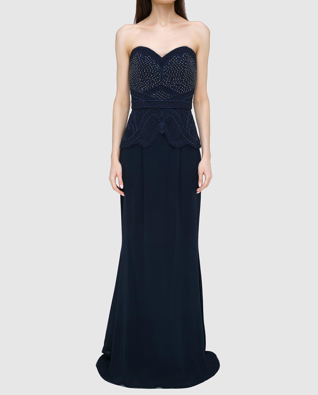 Rachel Gilbert Темно-синее платье из шелка 60014 изображение 3
