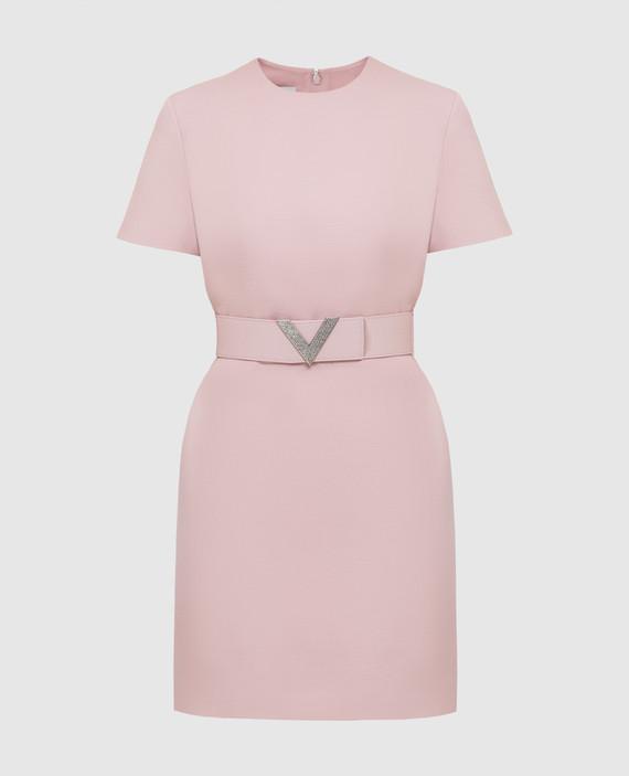 Светло-розовое платье из шерсти и шелка